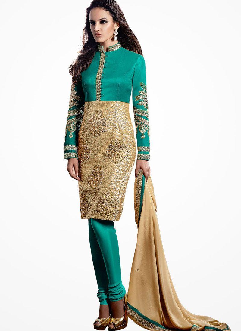 Teal Green Bhagalpuri Silk Churidar Salwar Suit