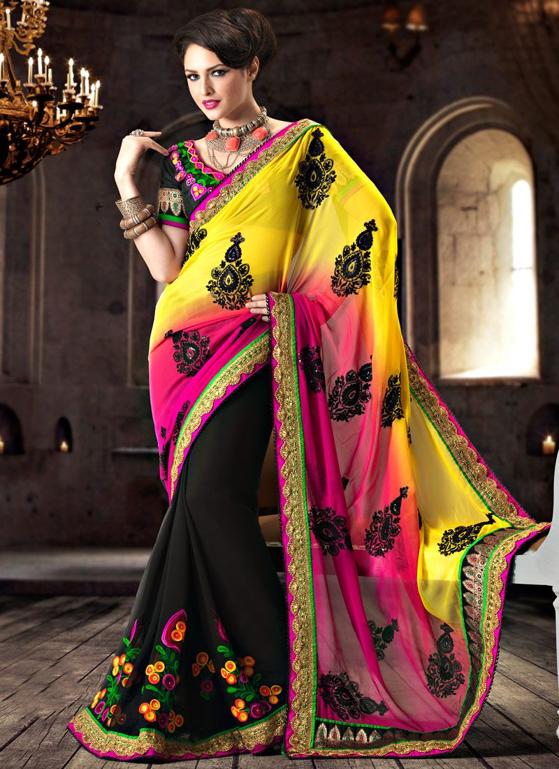 Multicolored Georgette Saree