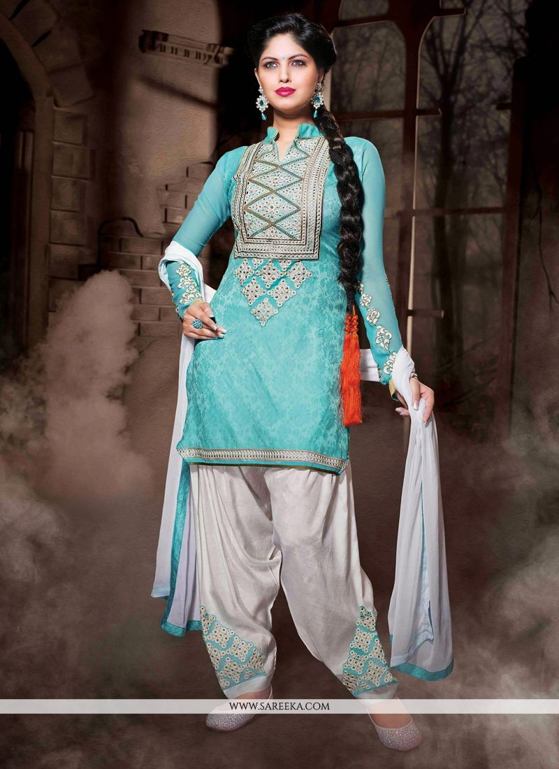 Turquoise Blue Cotton Silk Punjabi Suit
