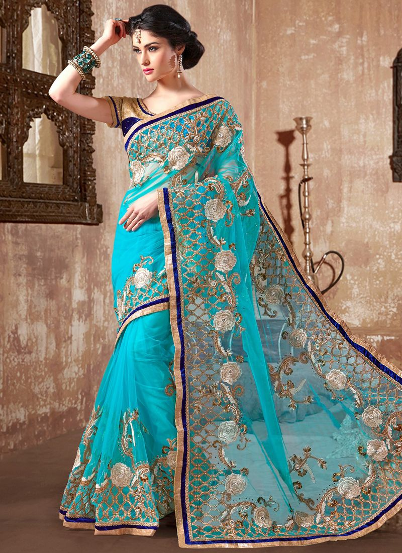 Turquoise Blue Embroidery Work Net Designer Saree