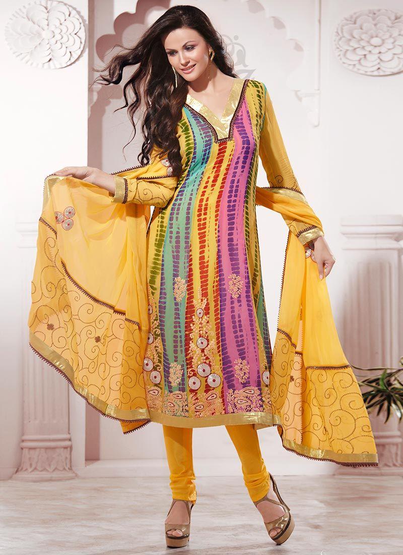 Printed Georgette Churidar Suit