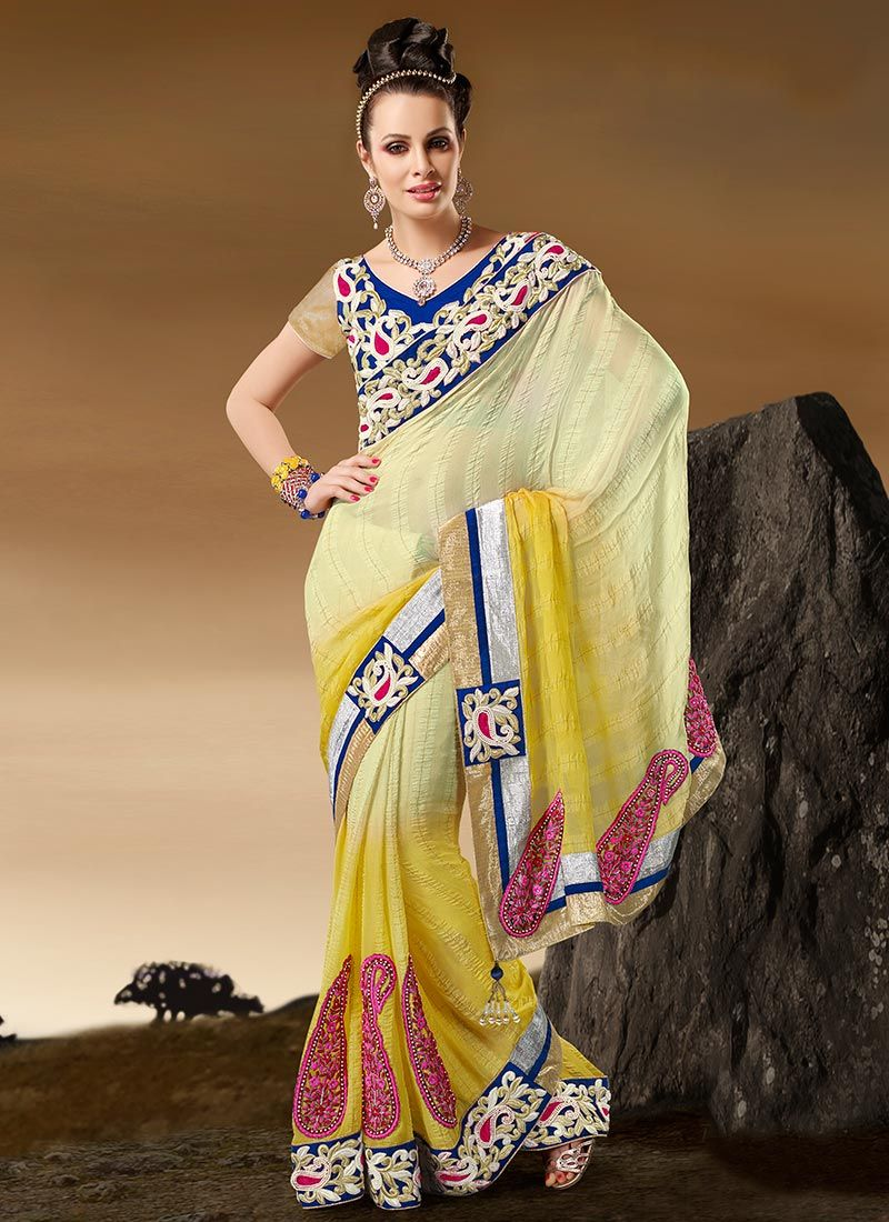 Yellow Paisley Faux Georgette Saree