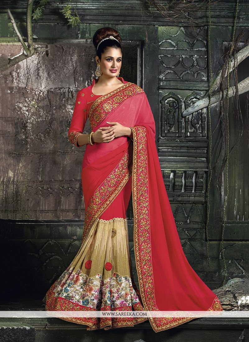 buy beautiful georgette hot pink designer traditional