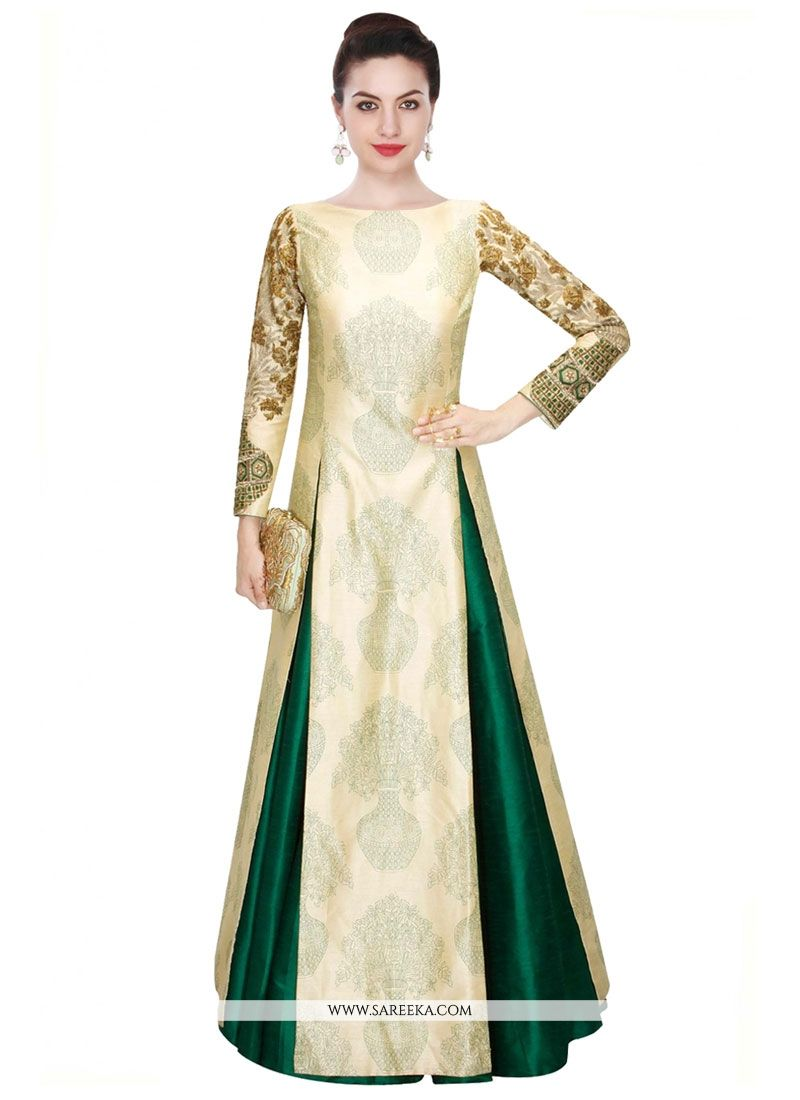 Buy Beige and Green Abstract Print Work Raw Silk Designer Long ...