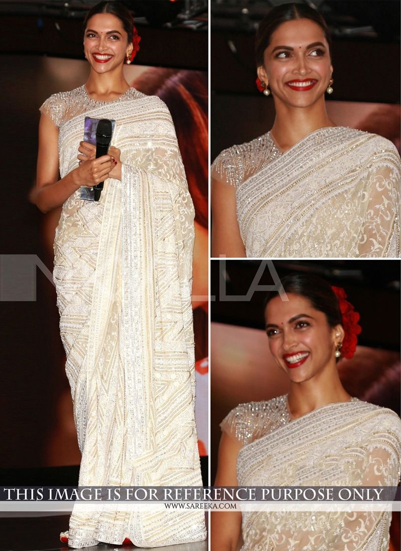 Deepika Padukone Georgette Patch Border Work Off White Bollywood Saree -