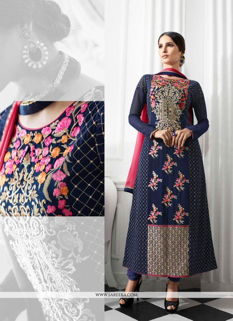 Resham Work Navy Blue Georgette Designer Suit