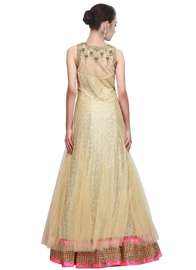Buy fascinating gold floor length anarkali salwar suit for Floor length anarkalis