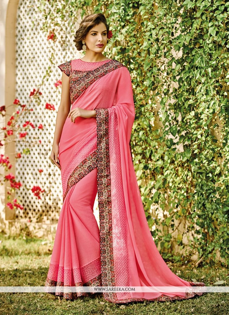 latest georgette pink designer saree