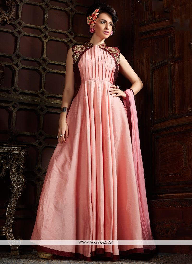 Buy Silk Pink Designer Gown Online : UAE -