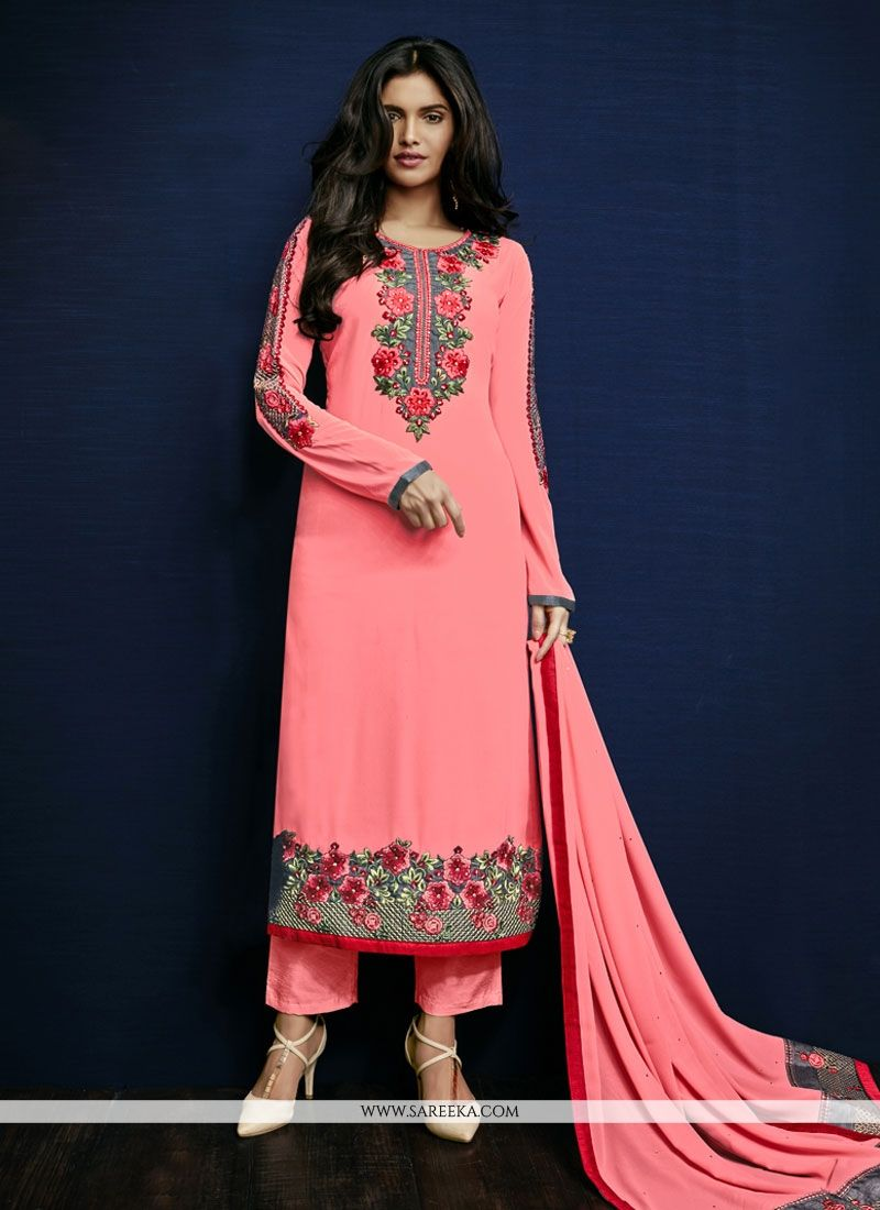 Pink Resham Work Pant Style Suit