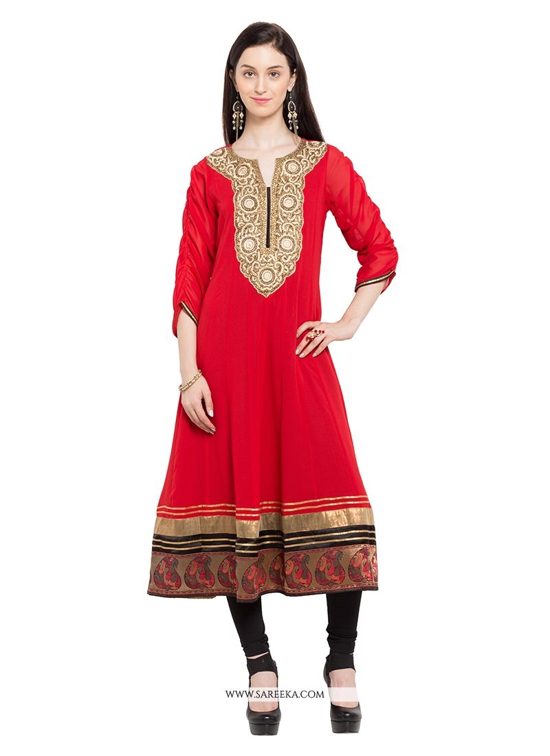 Buy Red Georgette Party Wear Kurti Online at lowest price
