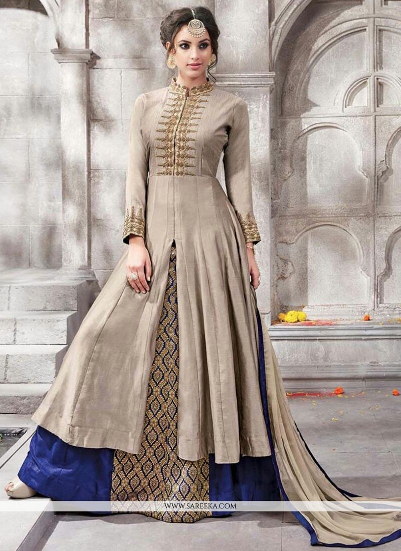 Buy engrossing cotton blue and grey designer lehenga choli for Floor length suits