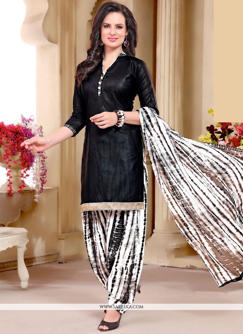 Fashionable Black Punjabi Suit