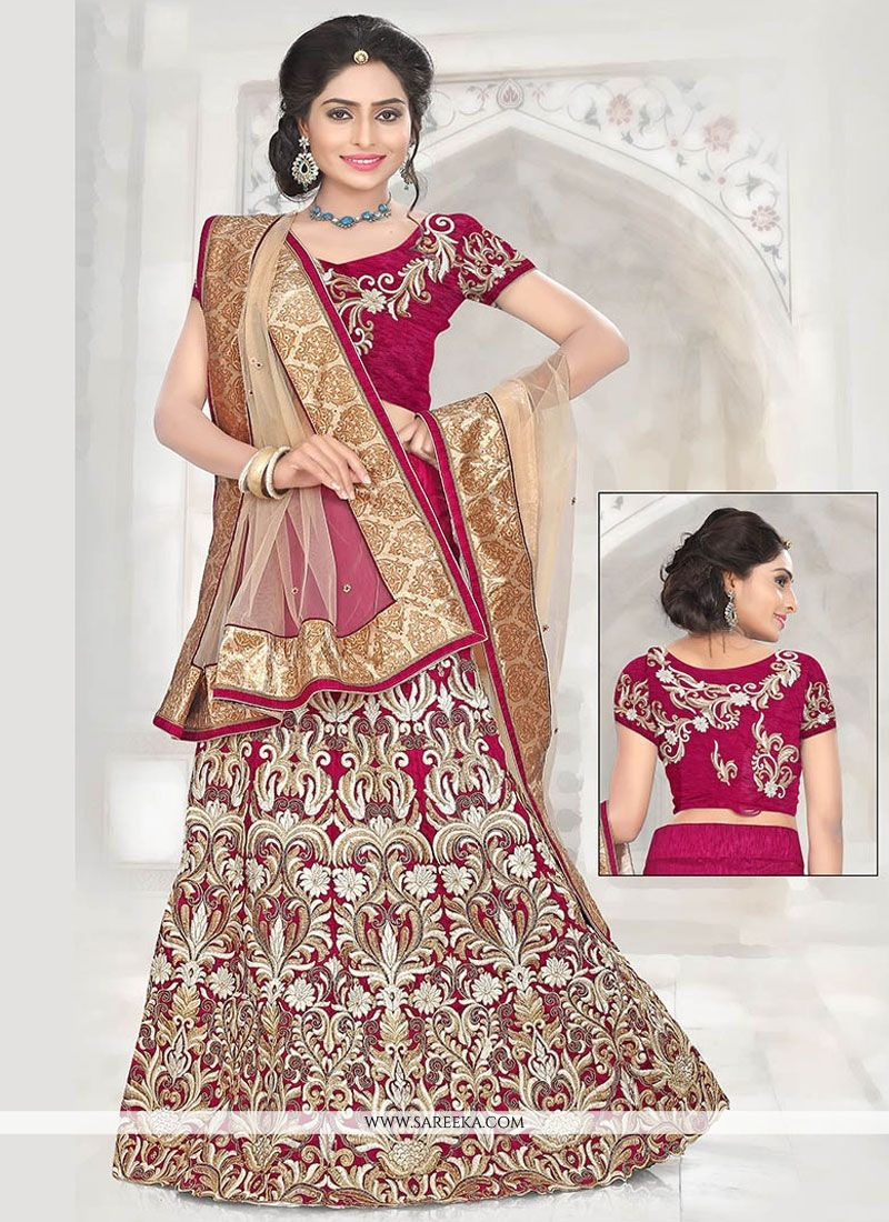 Buy Resham Bhagalpuri Silk Lehenga Choli in Magenta Online : USA
