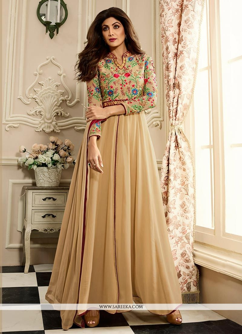 Buy Shilpa Shetty Stone Work Faux Georgette Floor Length Anarkali ...