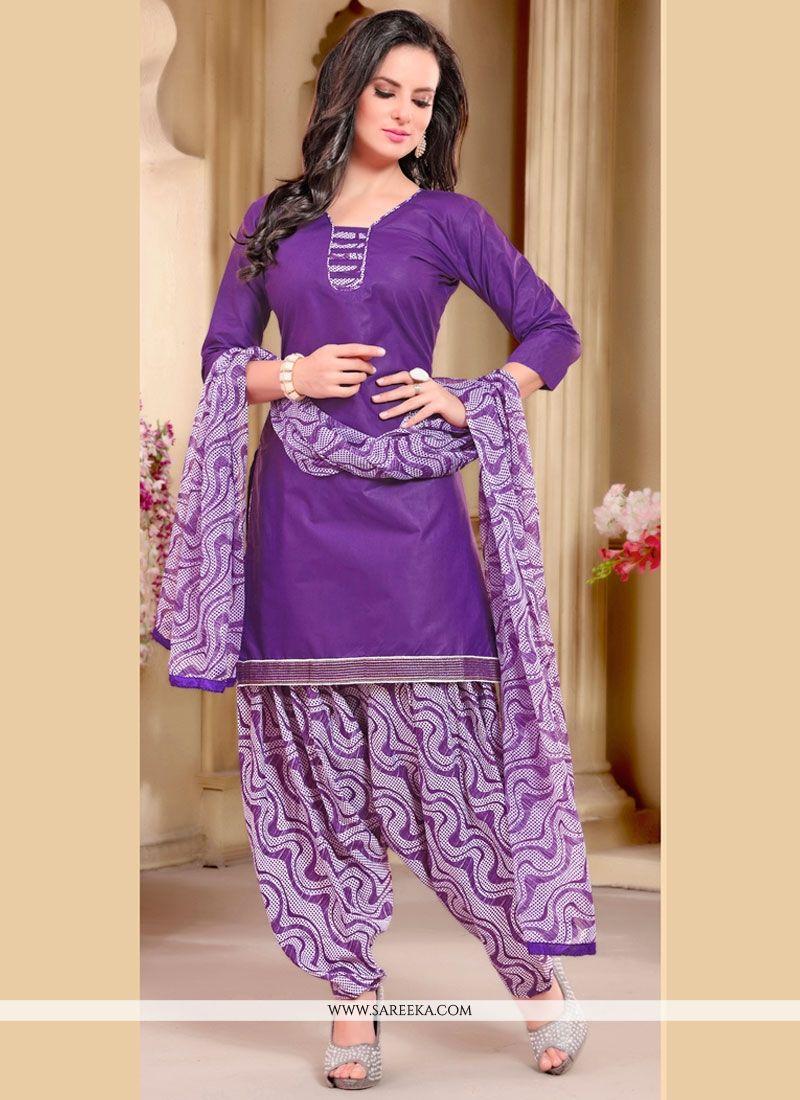 Sparkling Lace Work Cotton   Punjabi Suit