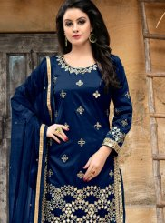 Blue Tafeta silk Party Punjabi Suit