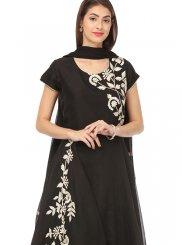 Chanderi Embroidered Black Anarkali Salwar Kameez