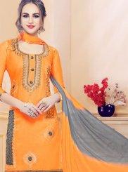 Cotton   Orange Churidar Designer Suit