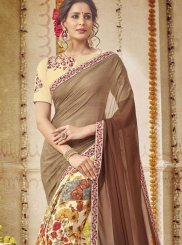 Digital Print Georgette Half N Half  Saree in Multi Colour