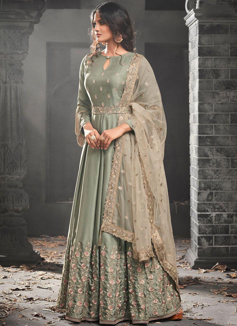 Lace Work Green Floor Length Anarkali Suit