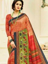 Multi Colour Print Tussar Silk Printed Saree