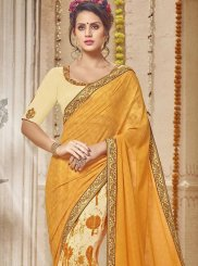 Orange Ceremonial Half N Half  Saree