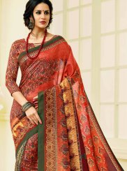 Print Tussar Silk Printed Saree in Multi Colour