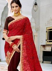 Red Georgette Mehndi Trendy Saree
