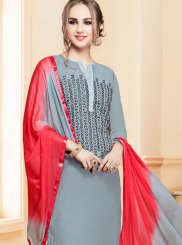 Resham Cotton   Salwar Kameez in Grey