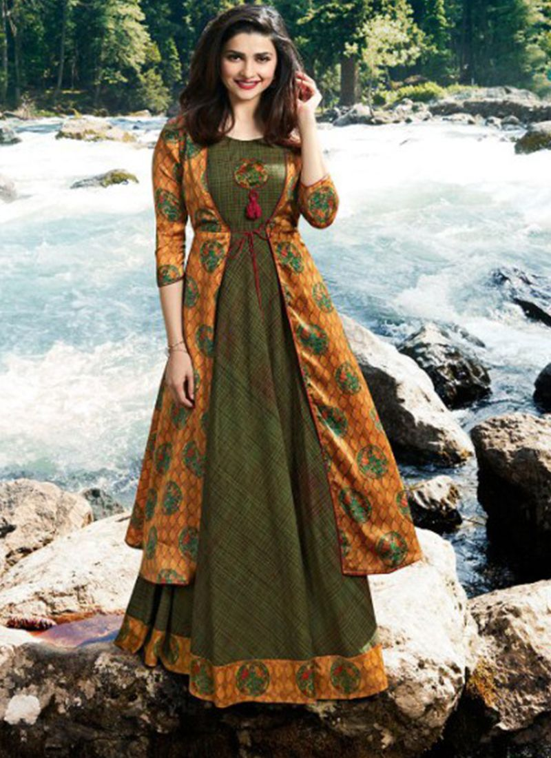 Satin Printed Green and Mustard Designer Kurti