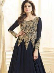 Shamita Shetty Faux Georgette Blue Floor Length Anarkali Suit